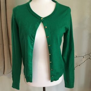 Banana Republic Kelly Green Cardigan Gold Buttons